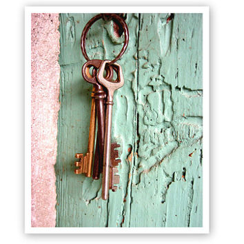 Vintage Keys Photograph - mint green wall art - wooden door - shabby chic photography print 8x10