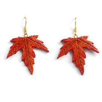 Maple Leaf Dangle Earrings in Burnt Orange, Red, and Bronze