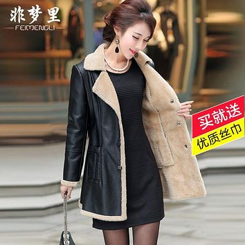 Velvet leather clothing female medium-long plus size PU 2016 cotton-padded coat autumn and winter slim fur one piece trench