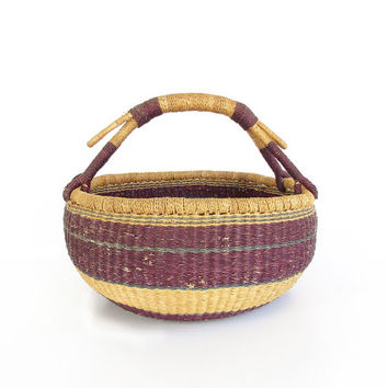 Vintage Market Basket -- African Basket -- Large Round Woven Basket with Handles -- Boho Storage Basket -- Plum Purple & Teal Green Stripes