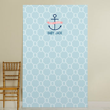 Personalized Photo Booth Backdrop - Kate's Nautical Baby Shower Collection - Nautical Rope