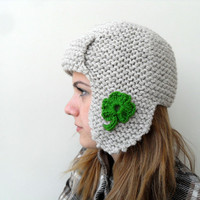 St Patricks Day Gift Pilot Hat for Adults by SmilingKnitting