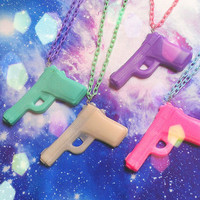 Pastel Goth Pistol Necklace Soft Grunge Fairy Kei
