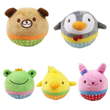 Super Cute 1pc Cartoon Plush Round Stuffed Toy Dog's toy Chick Penguin Frog Pet Cat Dog Puppy Toys