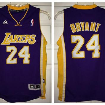 Sale!! Adidas LA Los Angeles LAKERS Basketball Jersey NBA Authentic merch #24 Kobe Bry