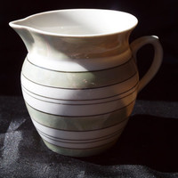 Green Striped Czechoslovakia Porcelain Creamer