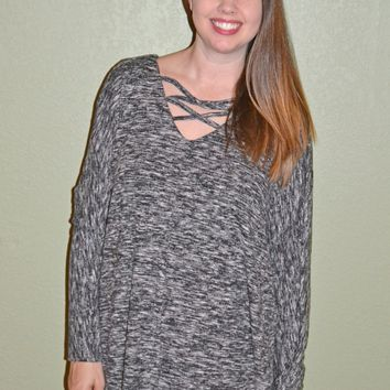Keep Your Cool Criss Cross Sweater: Black/White