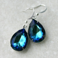 Blue Green Crystal Earrings - Teardrop Rhinestones in Bermuda Blue