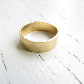 CHRISTMAS SALE - Wide gold ring - Wide band ring, Big band ring, Gold ring, Statement ring, Promise ring, Size 7