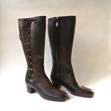 Mod vintage Tall Mottled Brown Lace Up Waterproof Rubber Boots / Rain Boots / Snow Boots