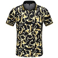 Versace Casual Men Short Sleeve Lapel Shirt Top Tee