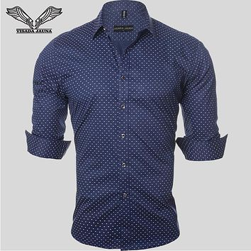 VISADA JAUNA 2017 New Arrival Men Shirts Business Casual Male Dress Long Sleeve Fashion Shirt Slim Cotton Chemise Homme  N961