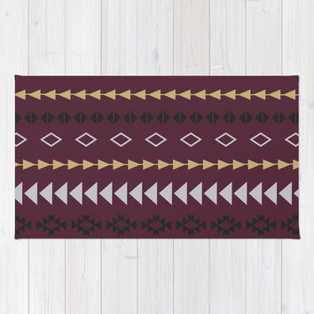 Maroon Aztec Stripes Area & Throw Rug by KJ53321 | Society6