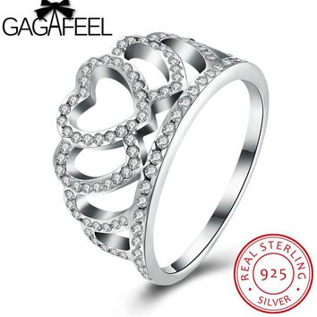 GAGAFEEL 925 Sterling Silver Princess Queen Crown Rings For Women CZ Crystal S925 Silver