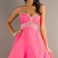 Short Strapless Baby Doll Dress by Mori Lee