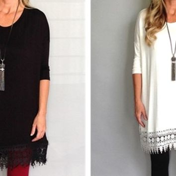Lace Bottom Tunic in 4 Colors!