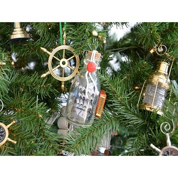 Flying Cloud Model Ship in a Glass Bottle Christmas Tree Ornament a592b376f