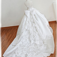 GORGEOUS Princess Ball Gown Wedding Dress with Amazing Pleated Train , Custom Made in your size
