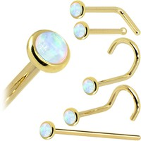 Solid 14KT Yellow Gold (October) 2mm Synthetic Opal Nose Ring