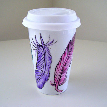 Ceramic Travel Mug Eco coffee cup Feathers Nature Painted Pink Aqua Purple Yellow