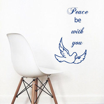 Wall Decals Words Peace Be With You Dove Lettering Home Vinyl Decal Sticker Kids Nursery Baby Room Decor kk611