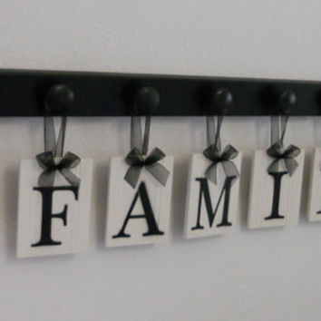 FAMILY with HEARTS Wall Art Sign - 8 Pegs and Wooden Letters Black. Custom Housewarming Gift