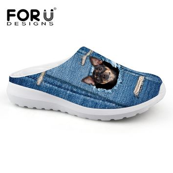 FORUDESIGNS 2017 New Fashion Men's Summer Sandals Denim 3D Animal Dog Cat Mesh Shoes Casual Men Slip on Lazy Shoes Male Slippers