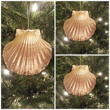 Seashell Ornament Set of 3.  Gold Beach Theme Christmas Decoration.  Scallop Shell Beach Ornament.