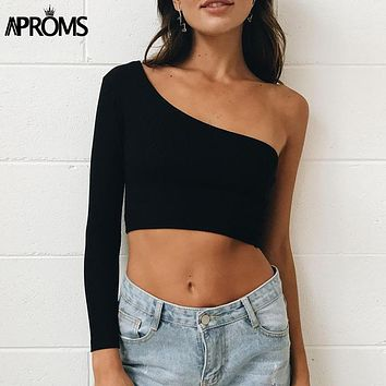 Aproms Cold Shoulder Camisole Tank Top Femal Knitted Crop Top Women
