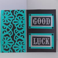 Good Luck! - Teal and Black Handmade Greeting Card - Graduation - College - Moving Away - Inside Blank