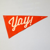 Yay! Wedding Pennant Flags - Single Flag for Ringer Bearer, Ceremony Attendant, Photo Booth prop, Save the Date