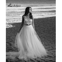 Exquisite Two Piece Bohemian Wedding Dresses A-line Tulle Lace Boho Bridal Gowns Custom Made