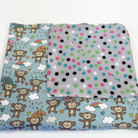 Large Receiving Blanket Double Layer Flannel, Reversible Blanket Swaddler, Tummy Time Blanket, Stroller Cover Pre-Washed and Ready to Ship