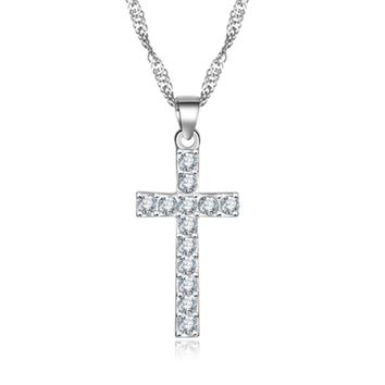 Silver Color Cross Necklaces Pendants Collares for Women