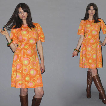 Vintage 60s SHERBET Dress / Candy Summer Sundress, Abstract Circle Print / Short BELL SLEEVE, A Line Shift Dress / Groovy, GoGo / Small
