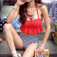 Lovely Red Ruffle Top High Waist Stripe Bikini
