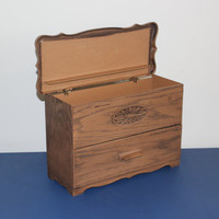 Lerner faux wood storage chest, desk organizer, jewelry box, sewing box