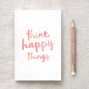 Mini Large or Midori Size Journal & Pencil Set - Think Happy Things - Midori Travelers Notebook Insert, Watercolor Style Notebook Stocking Stuffer