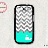 Glitter Chevron Mint Whale Samsung Galaxy S3 Case by CaseGarden