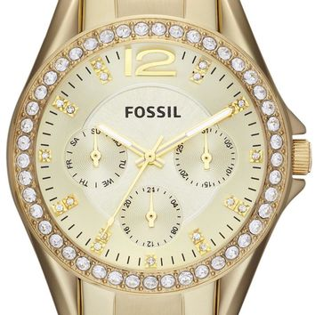 Fossil Riley Multifunction Gold Tone Crystal Dial ES3203 Women's Watch