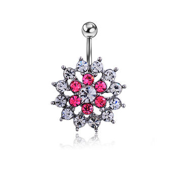 New Charming Dangle Crystal Navel Belly Ring Bling Barbell Button Ring Piercing Body Jewelry = 4804881156