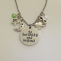"Disney inspired Toy Story necklace ""to infinity and beyond"" Woody Buzz Lightyear hand stamped swarovski crystals charms"