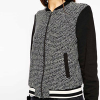 Black Knitted Baseball Jacket