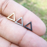 Hollow triangle 316L Surgical Steel 16g, 16 gauge Helix, tragus, conch cartilage earring