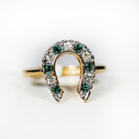 Vintage 1970s Emerald Green and Clear Austrian Crystals Lucky Horseshoe Ring 18k Gold Electroplated Made in USA New Old Stock #R1236