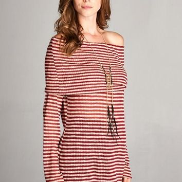 Off Shoulder Long Sleeve Tunic Striped Top