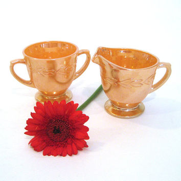 vintage 50s Fire King / Peach Lustre Creamer Sugar Bowl / Collectible Glassware / Anchor Hocking