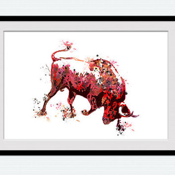 Red bull watercolor poster Bull colorful print Animal watercolor decor Taurus poster Home decoration Living room decor Wall hanging W440