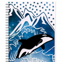 Whale Notebook - Orca Journal - A5 Notebook - Sketchbook - Back to School - Lined Journal - Travel Journal - Writing Journal - Illustration
