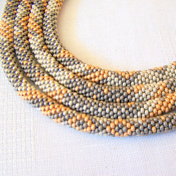 Long Beaded Crochet Rope Necklace - Beadwork - Seed beads jewelry - Elegant - Geometric  - Patchwork - in grey, silver, gold colors - pastel